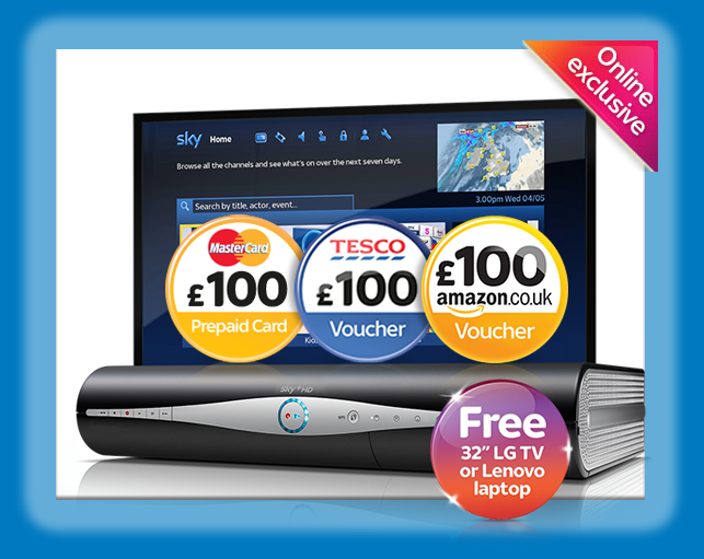 Free laptop or TV with Sky